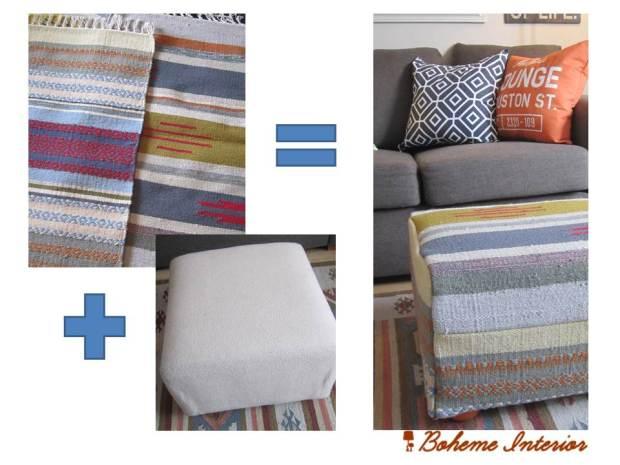 DIY ottoman-cover/ Boheme Interior