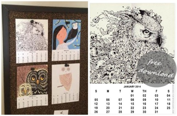 Free 2014 calendar by My Owl Barn Boheme Interior blog