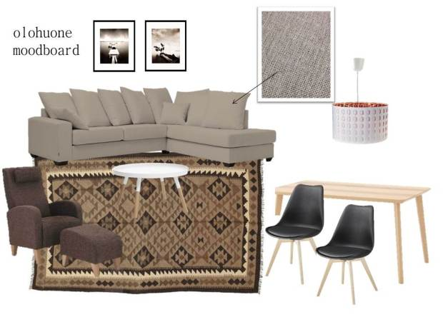 Sisustussuunnitelma, olohuone, kelim, living room, moodboard