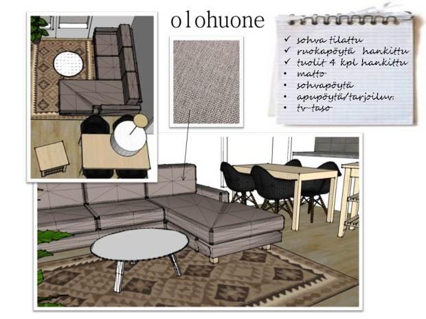 Sisustussuunnitelma, olohuone, kelim, living room, moodboard, sketch up