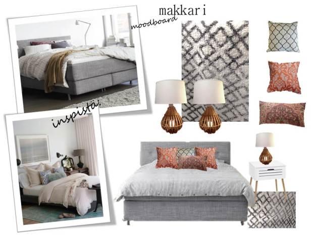 boheme interior, makuuhuoneen sisustussuunnitelma, interior design, bedroom, moodboard