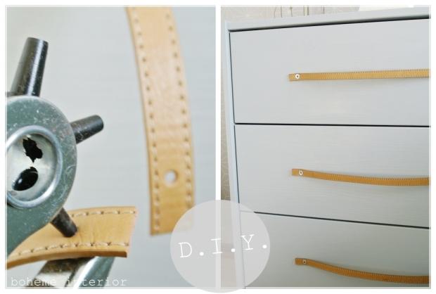 DIY leather pull/nahkavedin, Ikea hack, makuuhuone/bedroom